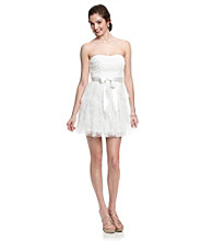 Teeze Me Juniors' White Strapless Tiered Party Dress