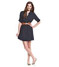 A. Byer Juniors' Belted Shirt Dress