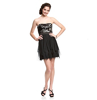 Hailey Logan Juniors' Strapless Black Party Dress
