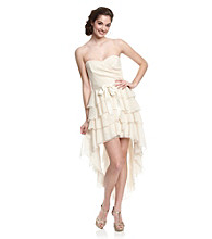 Teeze Me Juniors' Ivory Strapless Ruffled Hi-Low Dress