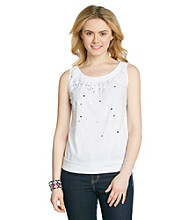 Relativity® Sequin Knit Boatneck Tank
