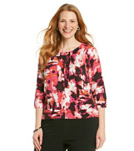Relativity® Career Plus Size Printed Cardigan