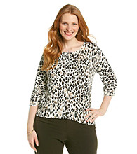 Relativity Career Plus Size 3/4 Sleeve Printed Cardigan