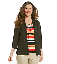 Alfred Dunner® Crewneck Layered-Look Cardigan Top
