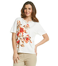 Alfred Dunner® Splitneck Beaded Floral Top