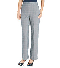 Alfred Dunner® Straight Leg Plaid Pant Stretch Waistband