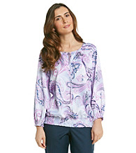 Alfred Dunner® Key Hole Neckline Smocked Top