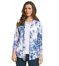 Alfred Dunner® Floral Print Jewel Detail Layered-Look Top