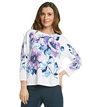 Alfred Dunner® Crewneck Floral Beaded Sweater