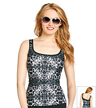 Relativity® Animal Print Tankini Swim Top