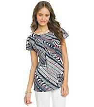 Anne Klein® Bias Stripe Print Blouse