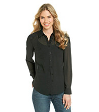 Spense® Pleated Back Sheer Buttondown Blouse