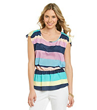 Black Rainn™ Striped Peplum Hem Top