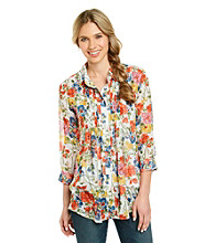 Fever™ Floral Print Pleated Blouse With Cami