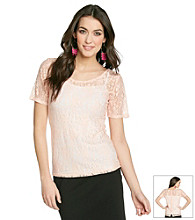 Chelsea & Theodore® Allover Lace Button Back Tee