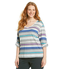 Calvin Klein Performance Plus Size Stripe V-Neck Tee