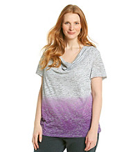 Calvin Klein Performance Plus Size Cowl Neck Dip Dye Burnout Top