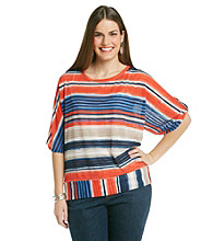 Rafaella® Plus Size Printed Sheer Stripe Dolman Top