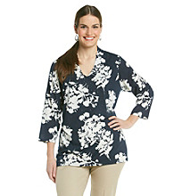 Rafaella® Plus Size Printed Tunic Floral Color Block