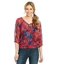 Nine West Vintage America Collection® Petites' Natalya Printed Peasant Blouse
