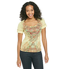 Oneworld® Petites' Promo Tee With Metallic Stripe