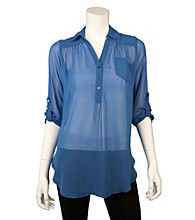 A. Byer Juniors' Open-Back Woven Shirt