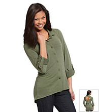 Belle du Jour® Juniors' Cutout Back Roll Sleeve Equipment Shirt