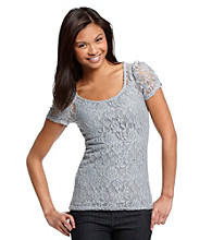 Ultra Flirt® Juniors' Allover Lace Cinch Sleeve Tee