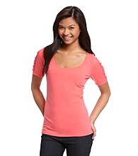 Ultra Flirt® Juniors' Lace Sleeve Tee