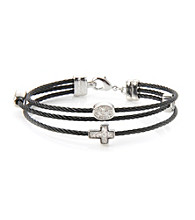 Cellini Stainless Steel Black Silver Plate Crystal Bracelet