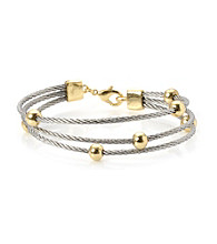 Cellini Stainless Steel Gold Plate Swarovski® Crystal Bracelet