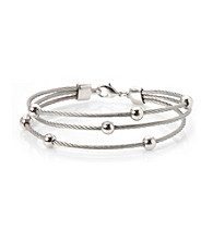 Cellini Stainless Steel Silver Plate Crystal Bracelet