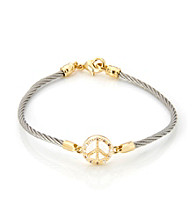 Cellini Stainless Steel Gold Plate Swarovski® Peace Sign Crystal Bracelet