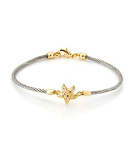 Cellini Stainless Steel Gold Plate Swarovski® Crystal Starfish Hook Bracelet