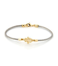 Cellini Stainless Steel Gold Plate Swarovski® Crystal Hand Hook Bracelet