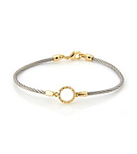 Cellini Stainless Steel Gold Plate Swarovski® Crystal Circle Hook Bracelet