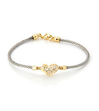 Cellini Stainless Steel Gold Plate Swarovski® Crystal Heart Hook Bracelet