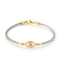 Cellini Stainless Steel Gold Plate Swarovski® Crystal Guardian Eye Hook Bracelet