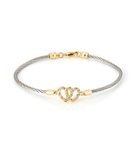 Cellini Stainless Steel Gold Plate Swarovski® Crystal Open Heart Hook Bracelet