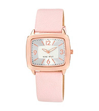 Nine West® Polished Rosegold Strap Watch