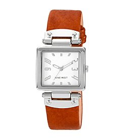 Nine West® Polished Silvertone Strap Watch