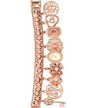 Anne Klein® Women's Rose Goldtone Charm Bracelet Watch