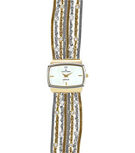 Anne Klein® Women's Diamond Dial Chain Two Tone Bracelet Watch