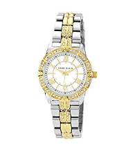 Anne Klein® Women's Two Tone Crystal Bezel Bracelet Watch