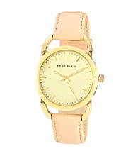 Anne Klein® Women's Tan Leather Strap w/Hinge Detail Watch