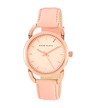 Anne Klein® Women's Blush Leather Strap w/Hinge Detail Watch