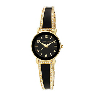 Anne Klein® Women's Goldtone Crystal Bangle Bracelet Watch