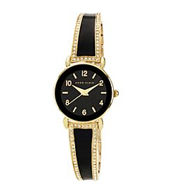 Anne Klein® Women's Goldtone/Black Crystal Bangle Bracelet Watch