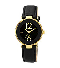 Anne Klein® Women's Goldtone and Black Leather Strap Watch