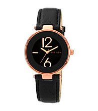 Anne Klein® Women's Rose Goldtone and Black Leather Strap Watch
